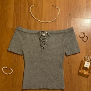 Grey Ribbed Lace-Up Tee (L.A Hearts)